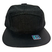 5 Panel Wool And Faux Leather Brim Black Cap Hat CN450