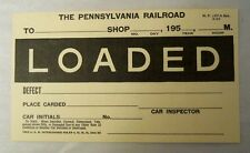 Antique PENNSYLVANIA RAILROAD PRR Damage Car Card Tag Placard LOADED EMPTY 1950s