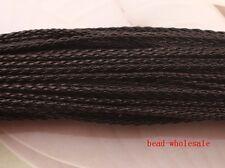5m Black Man-made Leather Braid Rope Hemp Cord for Necklace Bracelet 3mm