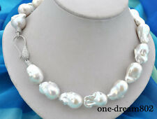 "18"" 28mm baroque white Reborn Keshi pearl necklace"