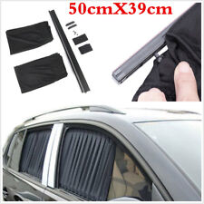 2Pcs 50X39cm Universal Adjustable Car Side Window Sunshades Sun Block Curtains