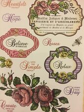 JustRite Clear Stamps Rose Bouquets Vintage Labels  x 14 Stamps - BNIP