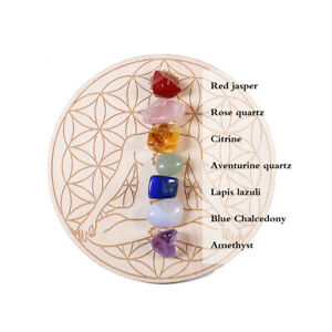 Natural 7 Chakra Crystal Healing Stone + Star Array Wood Plate Energy Generator