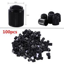 100X Tapones de Válvula Ruedas Plástico Negro Coche Bici Moto Camión Neumático
