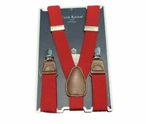 Club Room Men's Red Chevron Suspenders One Size
