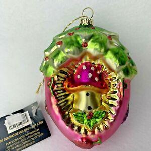 Robert Stanley Pink Mushroom Christmas Glass Ornament