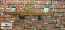 Handmade Rustic Flat Floating Shelf Solid Wood with Solid Steel Pipe Brackets