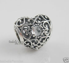 APRIL SIGNATURE HEART Genuine PANDORA Silver/Rock Crystal BIRTHDAY Charm/Bead