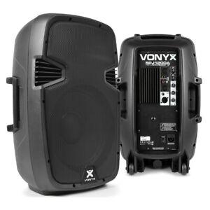 "Pair of 12"" Active Powered Speakers Mobile DJ Party Disco Karaoke PA Set 1200W"