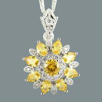 Modeschmuck Blume Rund Gelbe Citrin 18K Weissgold Vergoldet Anhaenger Halskette