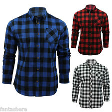 Stylish Mens Casual Checked Plaid Slim Fit Flannel Shirts Tee Long Sleeve Tops