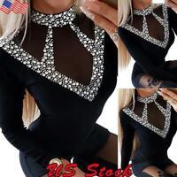 Women's Slim Fit T Shirt Long Sleeve Blouse Ladies Rhinestone Casual Tops Tee US