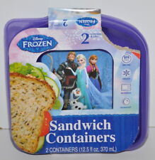 Disney Frozen Sandwich Containers 2 Containers & Lids Anna Elsa Olaf Sven New