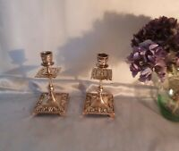 Antique Victorian Brass Candlesticks-Highly Embossed-Circa 1850