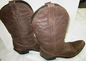"""Women's Western Boots 7W Brown Pebbled Leather Pull-On Cowgirl 2"""" Heel Point Toe"""