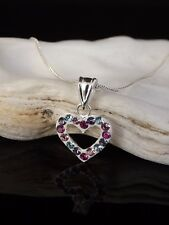 "Boxed 925 Silver & Multi Crystal Heart Pendant 16/18"" Necklace Mother's Day Gift"