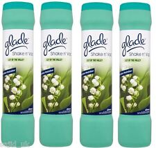4x glade shake n 'vac tapis freshener parfum poudre 500g lily of the valley