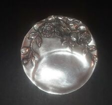 Art Nouveau Rose Relief Mini DIsh Tray in Pewter