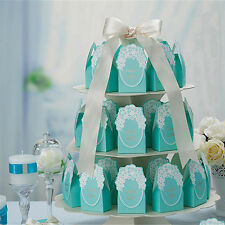100 Blue Wedding Favour Favor Sweet Cake Gift Candy Boxes Bags Anniversary Party