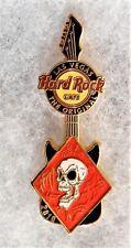 HARD ROCK CAFE LAS VEGAS RED DIAMOND WITH SKULL ON BLACK GUITAR PIN # 58275