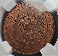 1 Pesa 1890 Wilhelm II German East Africa MS64 RB NGC Rare Date Only 1,000,000!!