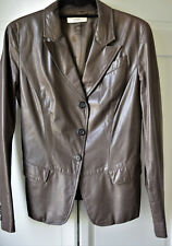 PRADA Taupe/Gray Classic Lightweight Leather 3-Button Jacket Size 44 8-10US
