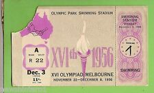 #D166. 1956  MELBOURNE OLYMPIC GAMES TICKET - SWIMMING 3rd DECEMBER