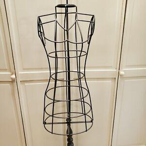 Vintage Style Wrought Iron Wood Base Mannequin DressForm Jewelry Handbag Display