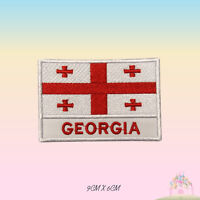 Georgia National Flag With Name Embroidered Iron On Patch Sew On Badge Applique