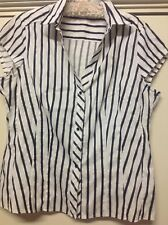 Womans Target Size 16 Black and White Striped Short Sleeve Blouse