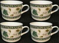 "Sango Ivy Charm Cups Coffee Mugs 2 1/2"" Tall 8854 Set of 4 Excellent"