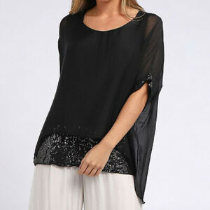 Double Layer Silk and Sequin Batwing Top in Black from Timeless Season