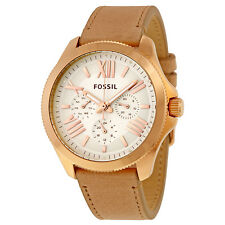 Fossil Women's AM4532 Cecile Multi-Function Cream Dial Camel Leather Watch