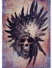 Native American Indian Skull Tribal Punk Goth Metal 3x2 Sticker Stocking Stuffer