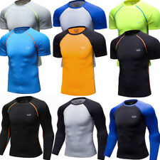 Mens Compression Skin Base Layers Running Athletic Gym T-shirts Slim fit