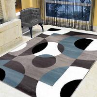 Contemporary Modern Circles Area Rug Non-slip Velvet Carpet Indoor Floor Mat New