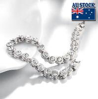 18K White Gold Filled Clear Crystal Tennis Bracelet Bangle Bridal Wedding