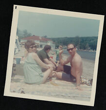 Vintage Photograph People in Bathing Suits - Shirtless Man Sitting in Sand Beach