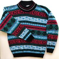 Glamour-Knit Vintage Sweater Knitwear Inc. Made In USA Sz Medium Multicolored LS