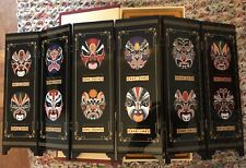 Chinese Mini Table 6 Panel Folding Screen Facial Makeup of Peking Opera lacquer