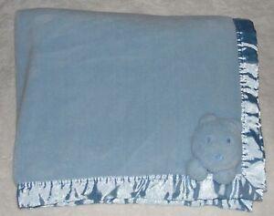 Child Of Mine Blue Fleece Baby Blanket Teddy Bear Face Satin Trim Back