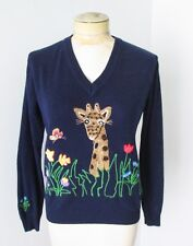 Super Cute vintage 1970's navy acrylic embroidered giraffe flowers sweater M