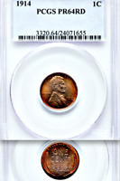 1914 PCGS PR64 RD Mintage 1,365 BEAUTIFUL Red Matte Proof Lincoln Wheat Cent  1C