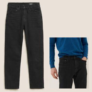 Mens M&S Autograph STRAIGHT Fit Italian Jeans Black RRP £45 CURRENT LINE