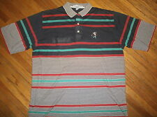 MICKEY MOUSE GOLF POLO SHIRT Embroidered Stripe vtg Izod Club Walt Disney World