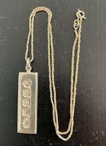 Vintage 1977 Solid Britannia 958 Silver Jubilee Ingot Pendant & Chain 18g