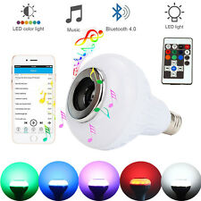 Wireless Bluetooth Bulb LED RGB Light Speaker 12W Smart Music Play Lamp + Remote