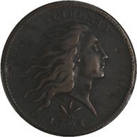 1793 Large Cent Wreath - Vine and Bars Edge PCGS Genuine Env. Damage XF DETAILS