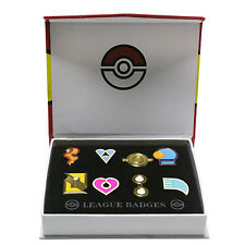 XCOSER Pokemon Gym Badges in box Hoenn League Set 8 Badge Pins for Cosplay
