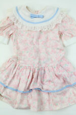Vintage Bonnie Jean 6 Smocked Dress Pink Floral Ruffle Easter Lace Holiday